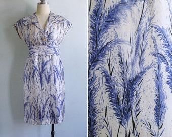 Vintage 40's 50's 'Fields Of Blue Barley' Floral Print Silk Dress XS