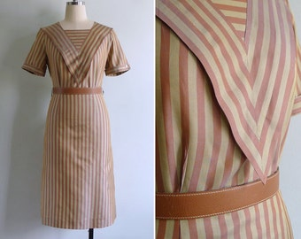 Vintage 80's 'This Way And That' Striped Triangle Bib Dress XS or S