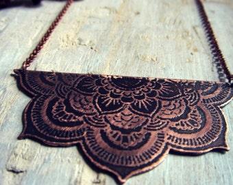 Mandala Necklace - Etched Copper Mandala Pendant