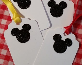 Gift Tags ~ Hand-Glittered Mickey Mouse Tags with Ribbon, Mickey Mouse, Disney Party, Goody Bag Tags, Place Cards