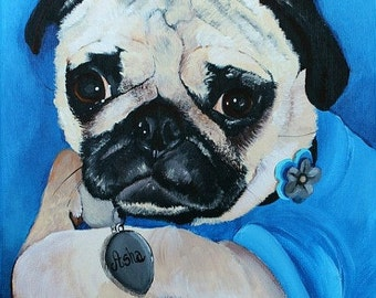 Custom dog portrait, pet portrait, pug art, pug painting on a 8x10 canvas from your photo, hand painted