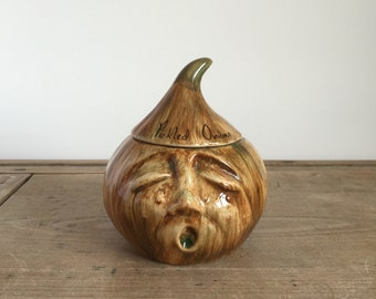 retro 1970s Pickled Onion head Crying Onion Face ceramic storage pot / lidded jar by Toni Raymond Pottery
