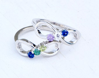 Infinity Birthstone Ring, Birthstone Infinity, Multiple Birthstone Jewelry, Mothers Jewelry, Family Ring, Mothers Ring,Infinity Ring