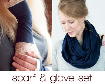 Scarf and Gloves Set, Gift Sets for Women, Navy Blue Infinity Scarf, Lace Fingerless Arm Warmers, Wife Girlfriend Gift, Winter Accessory