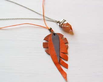 Orange Tribal Leather Necklace