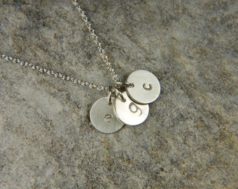 Silver Disc Necklace 8 mm Mommy Necklace Personalized Necklace Hand Stamped Necklace Personalized Jewelry