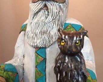 Hand Carved Wood Santa with Owl