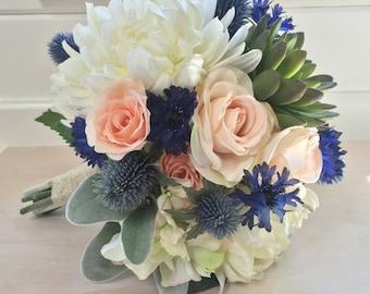 Blush & Blue Succulent Silk Wedding Bouquet with Peony, Dahlia, Cornflower, Hydrangea, Thistle, Echeveria