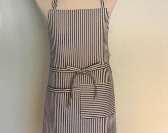 Blue Stripe Canvas Apron with Pocket and Towel Loop, Men's Chef Apron, Restaurant Apron, Server Apron, Blue Ticking Stripe, Adjustable