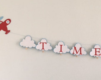 Airplane Banner ~ Time Flies ~ 12 month picture ~ Birthday Banner ~ Party Banner ~ Wall Decor