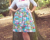 Flamingo skirt-Pin up, 50's, rockabilly, retro, vintage, pink, turquoise