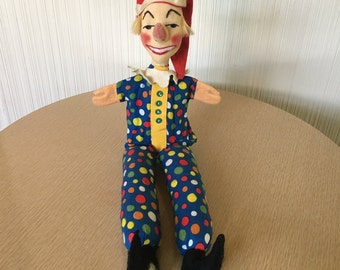 Vintage Hand Puppet | Kersa | Cloth and Felt | 50's, 60's | Children's Toy | Jester | Punch