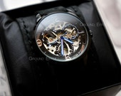 Mens Skeleton Watch, Automatic Watch, Groomsmen Gift, Valentine's Sale, Steampunk Watch, Handmade Leather Band, Sale, Unisex, GEML-SD01