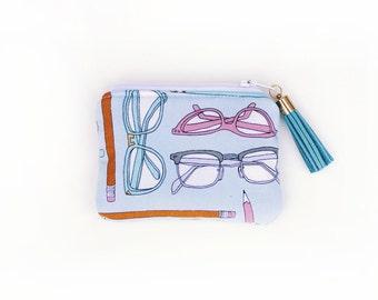 Coin Purse Zipper Pouch - Glasses - Gift Card Holder