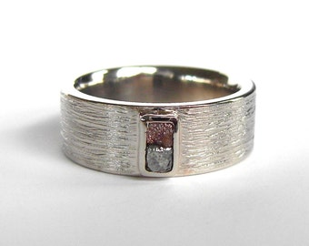 Diamond Cube Wedding Ring,Natural Raw Diamond Ring, Organic Wedding Band, Recycled Gold and Natural Diamond band