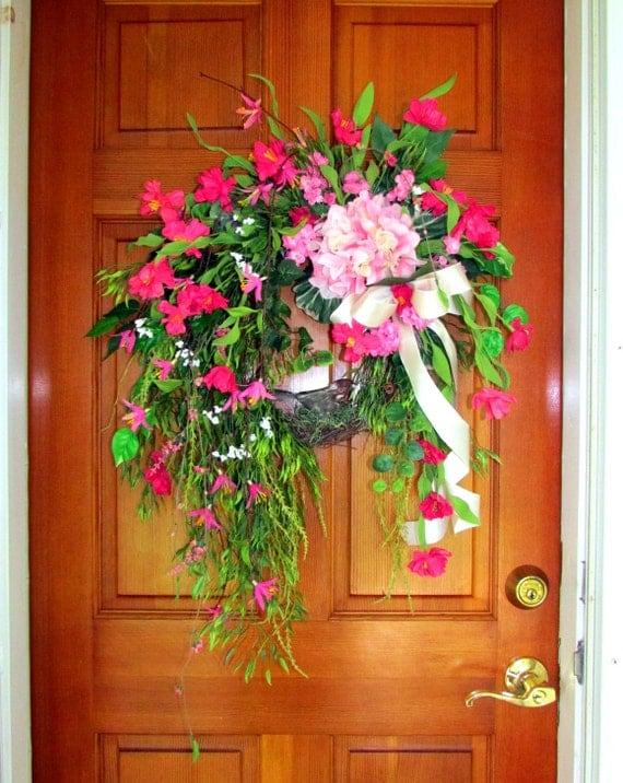 Items similar to summer wreath front door summer wreath What to hang on front door for decor