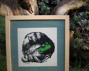 Frog - Hand Screen Printed, Home Decor, Nature decor