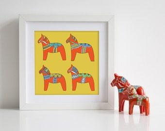 Swedish Dala Horse - Square Hand Drawn Illustration Print - scandi print - folk art - scandinavian art - dala horses from sweden