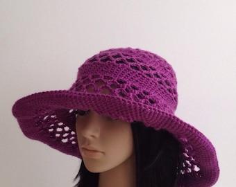 Crochet  Floppy Hat... Women's Hat ....  Crochet  Wide Brim Hat...Handmade Crochet Wide Brim Hat