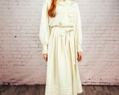 Vintage cream full skirt,White full skirt .Cotton Midi skirt white,cream white skirt,70s skirt,Boho skirt