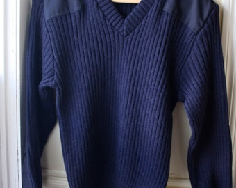 "Vintage Navy Blue Military Sweater with Epaulets / Pure New Wool Sweater /  V-Neck Military Uniform Sweater / Unisex Medium 40""/42"""