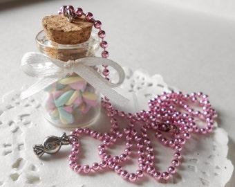 Marshmallow jar bottle necklace - Sweets candies in a bottle - handmade polymer clay food jewelry