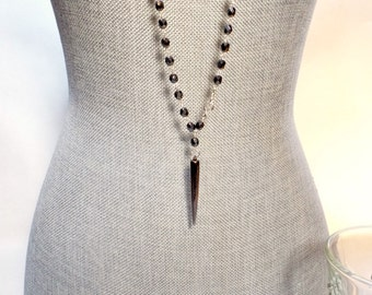 Hematite Czech Crystal Rosary Bead Chain Style Extra Long Adjustable Necklace with Long Spike