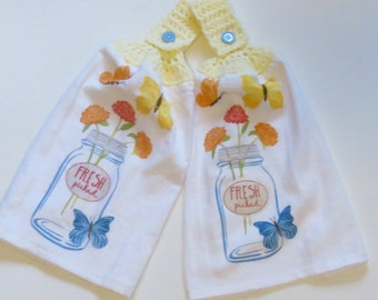 Fresh Picked Crochet Top Kitchen Hand Towel Set of 2