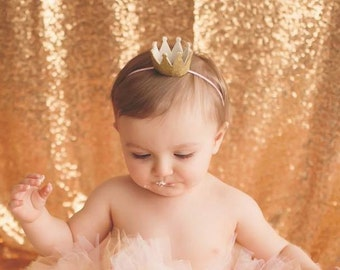 GOLD CROWN HEADBAND, Birthday Crown, Half Birthday Crown, Crown Headband, Birthday Crown, Smash Cake Headband, Princess Crown, 1st Birthday