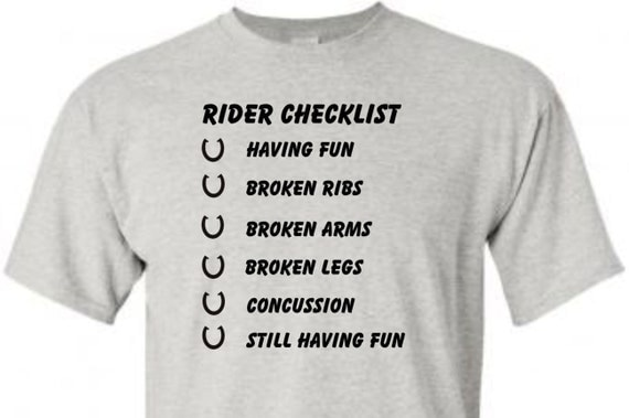 Horse Rider Checklist, funny shirt, trending top, popular trend, horse lovers, unisex shirt, Rodeo shirt,