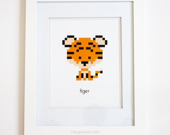 Zoodiacs Tiger Pixel Graphic Print, White Background