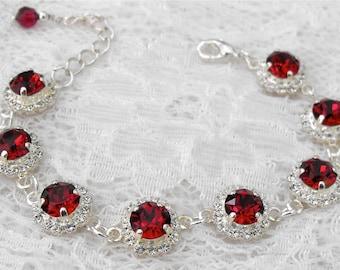 Ruby Bracelet Red Ruby Wedding Bracelet Red Wedding Red Bridesmaids Winter Wedding Red Ruby Swarovski Crystal Silver Bridal Bracelet