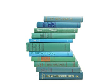 Ocean Blue Green Decorative Books, Book stack, Book Set Decor, Instant Library, Foot of Books, Book Centerpiece, Vintage Book Collection