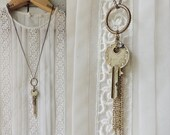 RESERVED/Vintage Key Necklace/Long Chain/Rhinestone/Engraved Key/ Key/Steampunk/Victorian/Abstract/Circle/Boho Chic/Modern Rustic/Y necklace