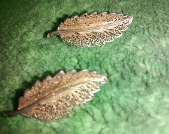 Sterling Silver Lacy  Screw Back Earrings 1950's