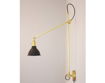 Articulating Industrial Wall Lamp Brass Scissor Lamp With