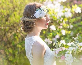 Woodland hair crown, Rustic flower crown, Boho wedding head piece, White flower Bridal wreath, Ivory floral headpiece, style **Eleni**