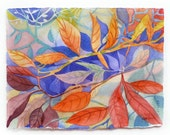 Abstract Landscape Painting, Abstract Leaves, Abstract Watercolor, Watercolor Painting, Original Watercolor, Colorful Landscape, Red, Purple