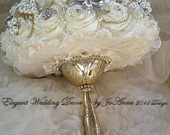 GATSBY BROOCH BOUQUET, Deposit for a Gold Silver and Ivory Jeweled Wedding Bouquet, Brooch Bouquet,  Ivory Bridal Brooch Bouquet, Bouquet
