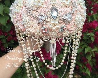 Pink Brooch Bouquet Crystal Wedding Bouquet Pink and Silver Brooch Bouquet Broach Bouquet Custom Bouquet Silver Jeweled Bouquet, Deposit