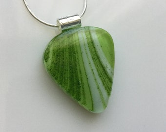 Guitar Pick Pendant, Fused Glass Jewelry, Green Ivory Guitar Pick Necklace