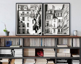 Wall art set of 2 Paris prints, black and white Paris photography, large wall art, architectural art, set of two vertical poster 11x14,16x20