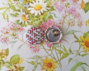 Fabric Covered Button Earrings / Wholesale Jewelry / Bridesmaid Gift / Hypoallergenic Earrings / Stud Earrings / Wedding Favors