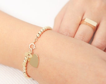 Gold Ball Bracelet, Beaded Bracelet, Silver Ball Bracelet, Everyday Bracelet, Stackable Bracelet, Heart Bracelet, Sterling Silver Jewelry.