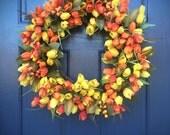 Tulip Wreaths, Spring Door Wreaths, Orange Yellow, Orange Tulip Wreaths, Spring Door Decor, Yellow Tulip Wreath, Mothers Day Gift