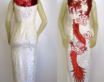 Vintage 1960's Stunning Sequin Cheongsam Wiggle Dress/ Oriental Red Carpet / Bombshell GLAM Gown