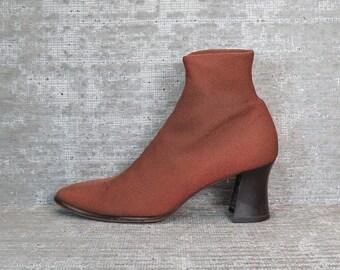 Vtg 90s Sienna Rust Orange Elastic Ankle Boots Booties Heels 7.5