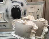 Ruffled Linen and Blue Ticking pillow strip