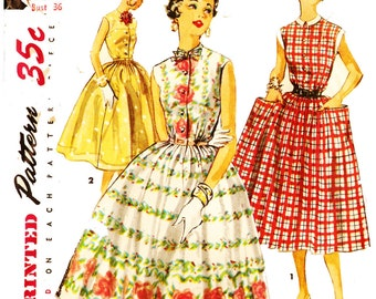 Simplicity 1084 Vintage 1950s Sleeveless Dress with Large Pockets and Tie Collar Sewing Pattern Sz 18