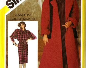 Simplicity 6572 Retro 1980s Swing Back Coat, Pullover Dress and Tie Belt Sewing Pattern Sz 14